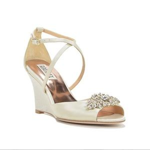 Badgley Mischka Abigail Wedge Bridal Shoe
